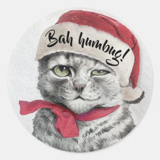 Vintage Wain Santa Hat Cat Classic Round Sticker