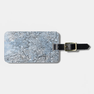 Vintage Wales England Region Map Travel Luggage Tag