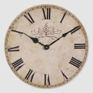 Vintage Wall Clock Round Sticker