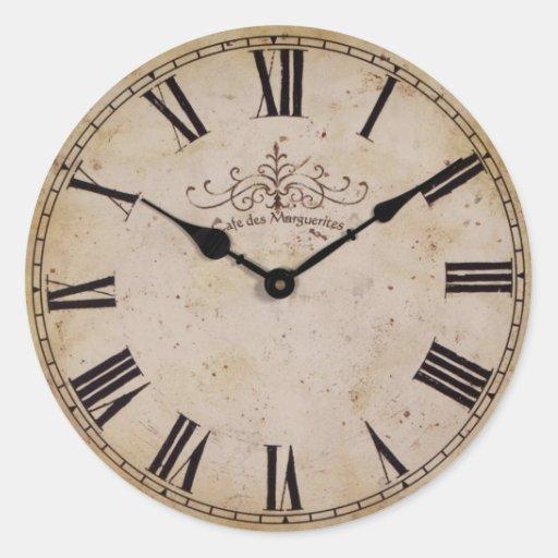Vintage Wall Clock Round Sticker