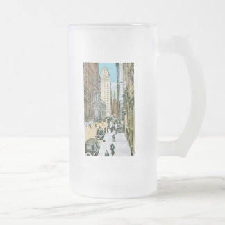 Vintage Wall Street Looking West, New York City Frosted Glass Beer Mug
