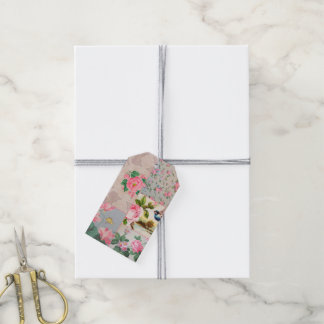 Vintage wallpaper collage gift tags
