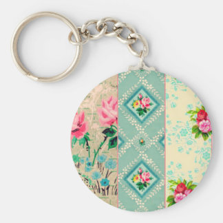 Vintage wallpaper collage keychain