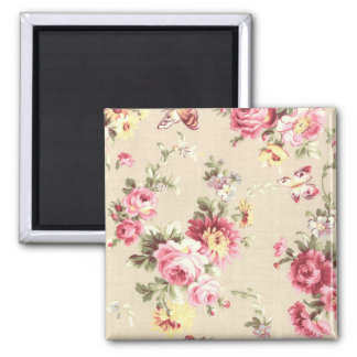 Vintage Wallpaper Flowers and Butterflies Beige Square Magnet