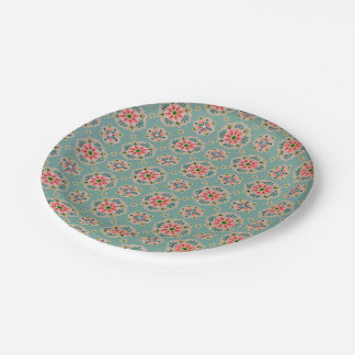 Vintage wallpaper paper plates pink and aqua
