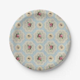 Vintage wallpaper pink blue floral paper plates 7 inch paper plate