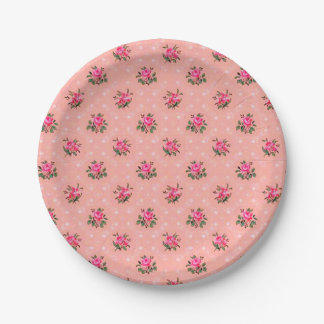 Vintage wallpaper pink paper plates 7 inch paper plate