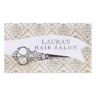 Vintage Wallpaper Scissors Hair Salon Business Pack Of Standard Business Cards