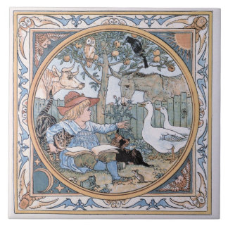 Vintage Walter Crane: The child, the farm animals Tile