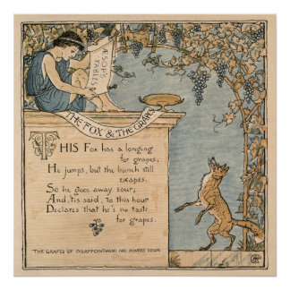 Vintage Walter Crane: The fox and the grapes Poster