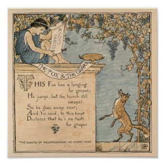 Vintage Walter Crane: The fox and the grapes small Poster
