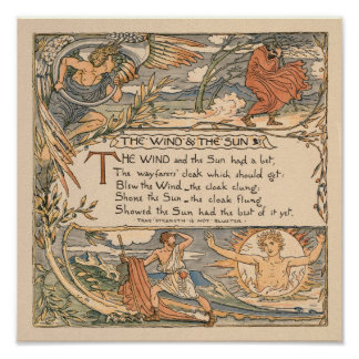 Vintage Walter Crane: The wind and the sun small Poster