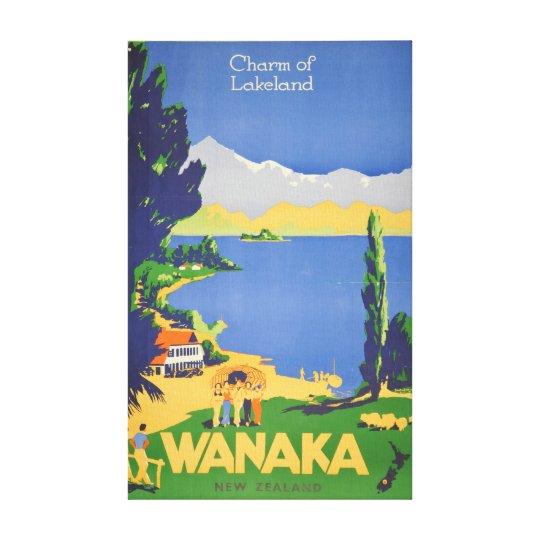 Vintage Wanaka New Zealand Lakeland Travel Canvas Print