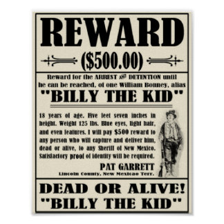 Vintage Wanted Poster Billy the Kid