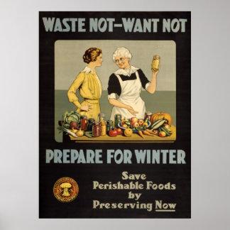 VINTAGE WAR EFFORT POSTER - WASTE NOT-WANT NOT
