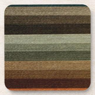 Vintage Warm Autumn Striped Pattern, Earth Tones Coasters