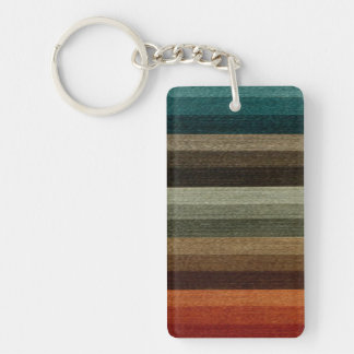 Vintage Warm Autumn Striped Pattern, Earth Tones Double-Sided Rectangular Acrylic Keychain