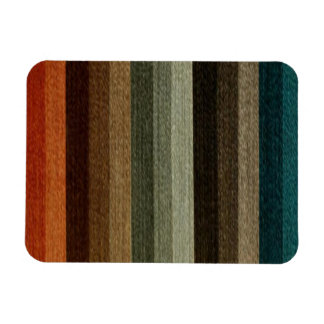 Vintage Warm Autumn Striped Pattern, Earth Tones Rectangular Photo Magnet