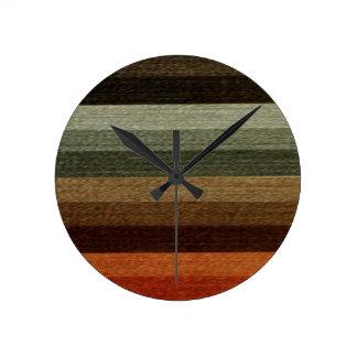 Vintage Warm Autumn Striped Pattern, Earth Tones Wallclock