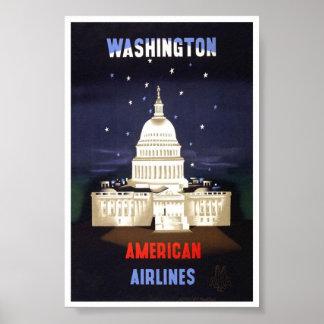 Vintage Washington American Air Line Travel Poster