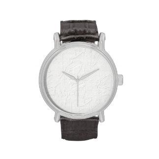 Vintage Watch Embossed white floral design
