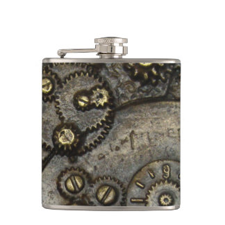 Vintage Watch Gear Mechanism Hip Flask