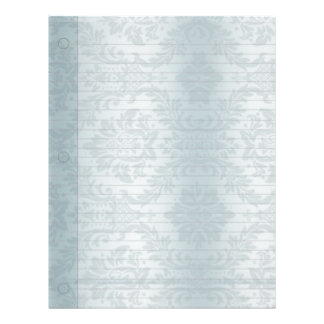Vintage Water Color Blue Damask Print Letterhead