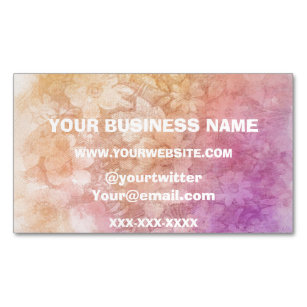 Vintage Water Colour Floral Background Magnetic Business Card