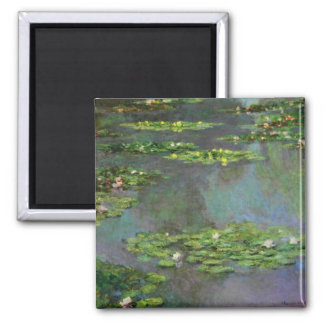 Vintage Water Lillies Square Magnet