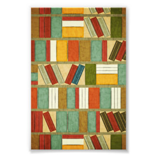Vintage Watercolor Bookshelf Photo Print