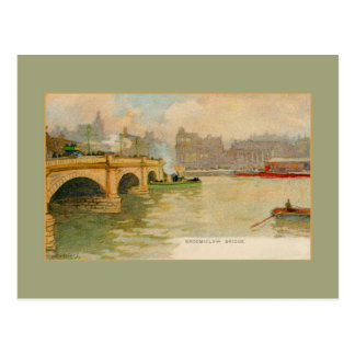 Vintage watercolor Broomielaw bridge Glasgow Postcard