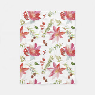 Vintage Watercolor Christmas Florals Fleece Blanket