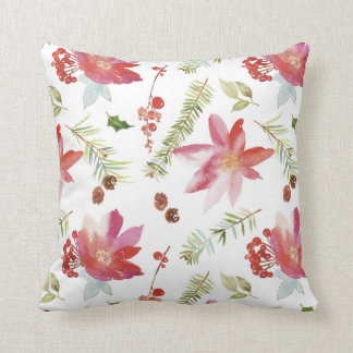 Vintage Watercolor Christmas Florals Throw Pillow