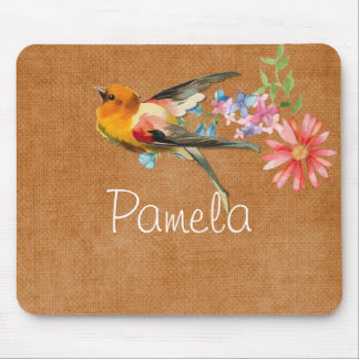 Vintage Watercolor Floral Bird Personalized Mouse Pad