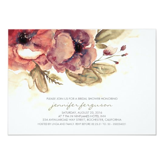 Vintage Watercolor Floral Bridal Shower Card