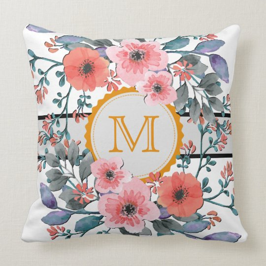 Vintage Watercolor Floral Monogram Throw Pillow
