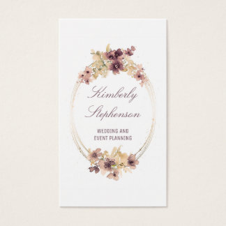 Vintage Watercolor Flowers Gold and Mauve Elegant Business Card