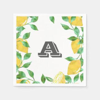 Vintage Watercolor Lemon Initial Cocktail Napkins Paper Napkin