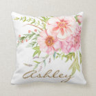 Vintage Watercolor Peonies Personalized Pillow