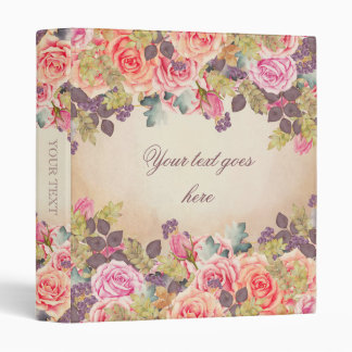 Vintage Watercolor Roses Vinyl Binder