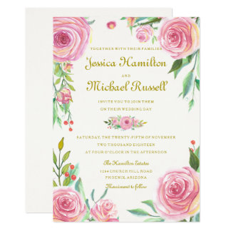 Vintage Watercolor Roses Wedding Invitation