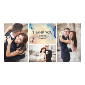 Vintage Watercolors Elegant Wedding Thank You Customized Photo Card