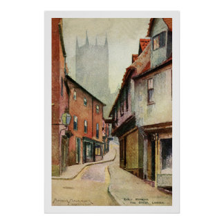 Vintage watercolour Lincoln The Strait Poster