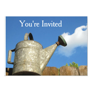 """Vintage Watering Can Cloud Illusion 5"""" X 7"""" Invitation Card"""