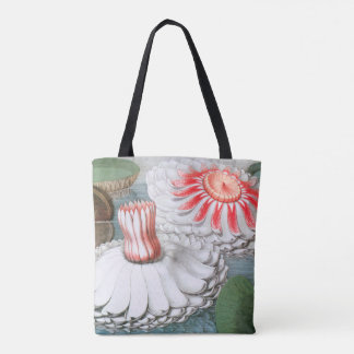 Vintage Waterlilies Flowers in a Garden Pond Tote Bag