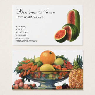 Vintage Watermelons Tall Round, Organic Food Fruit Business Card