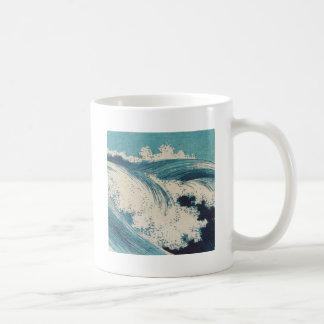 Vintage Waves Japanese Woodcut Ocean Classic White Coffee Mug