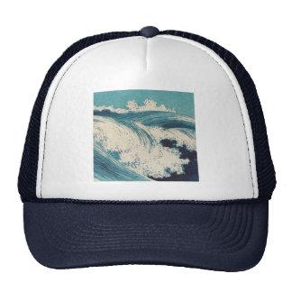 Vintage Waves Japanese Woodcut Ocean Trucker Hats