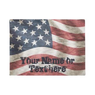 Vintage Weathered American Flag Doormat
