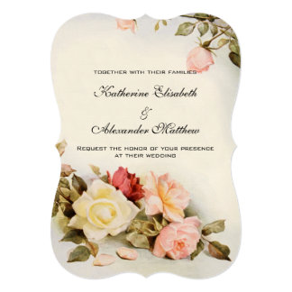 Vintage Wedding Antique Garden Rose Flowers Floral Card
